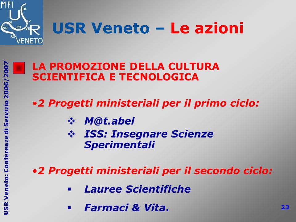 USR Veneto – Le azioni LA PROMOZIONE DELLA CULTURA SCIENTIFICA E TECNOLOGICA. 2 Progetti ministeriali per il primo ciclo: