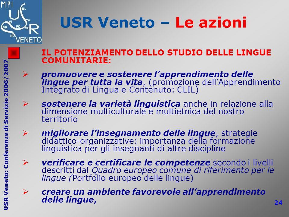 USR Veneto – Le azioni IL POTENZIAMENTO DELLO STUDIO DELLE LINGUE COMUNITARIE: