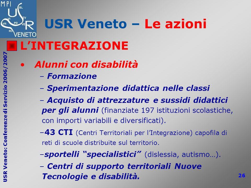 USR Veneto – Le azioni L'INTEGRAZIONE Alunni con disabilità Formazione