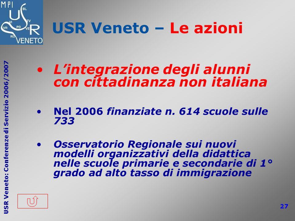 USR Veneto – Le azioni L'integrazione degli alunni con cittadinanza non italiana. Nel 2006 finanziate n. 614 scuole sulle 733.