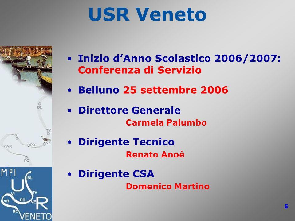 USR Veneto Inizio d'Anno Scolastico 2006/2007: Conferenza di Servizio