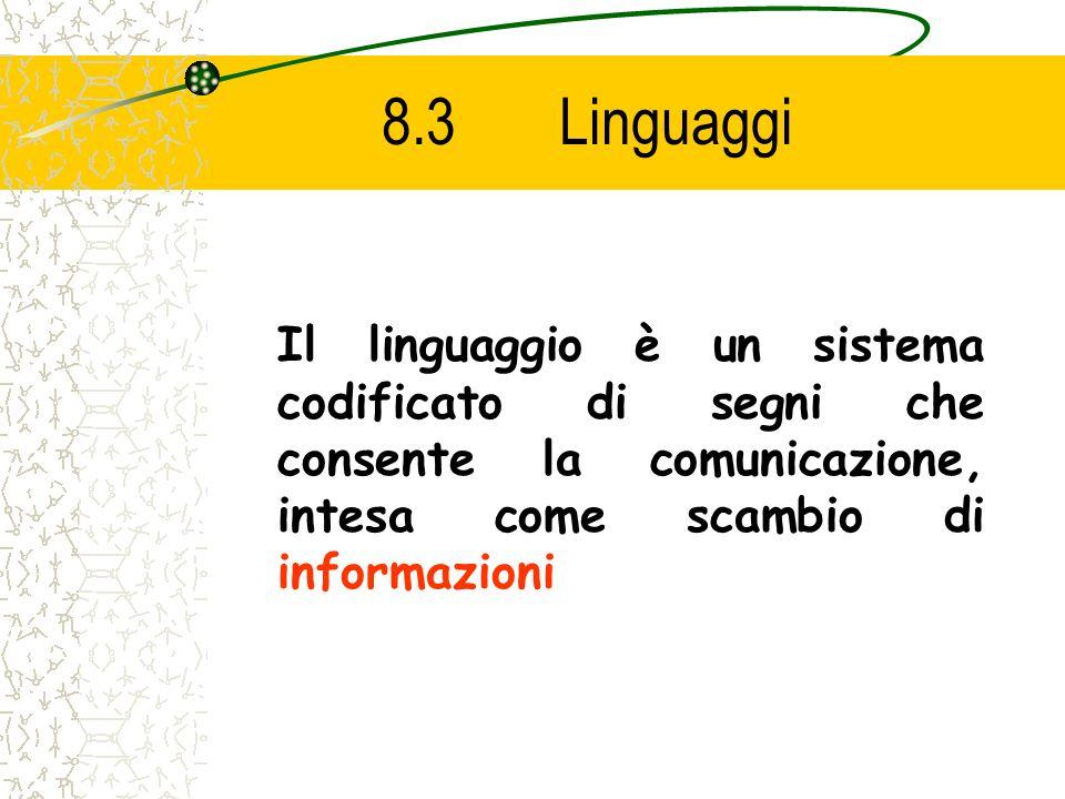 8.3 Linguaggi Il linguaggio è un sistema codificato di segni che consente la comunicazione, intesa come scambio di informazioni.