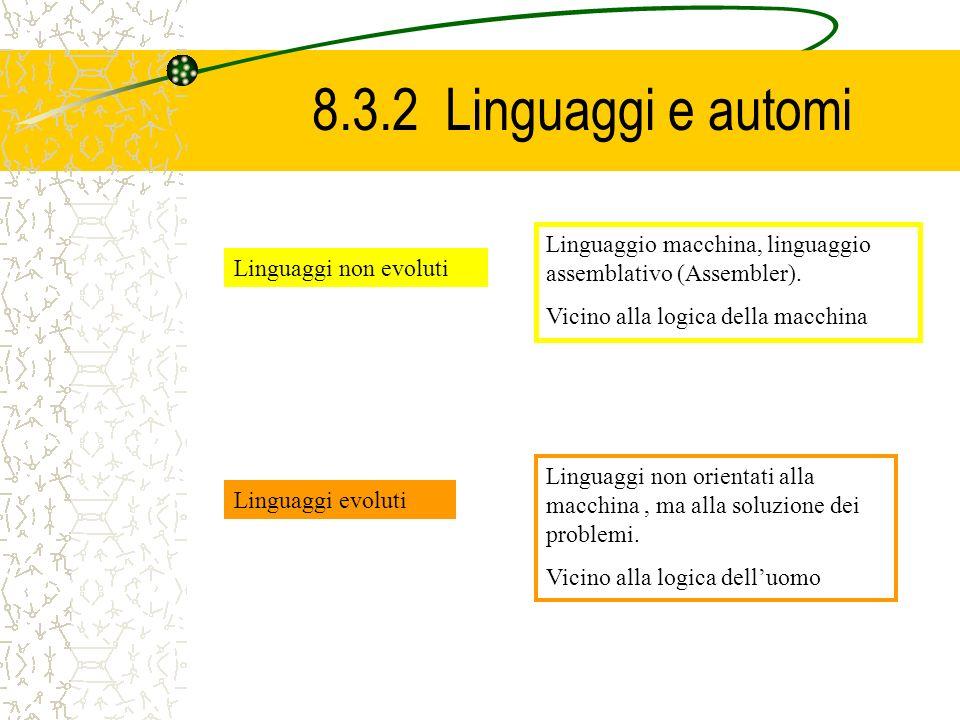 8.3.2 Linguaggi e automi Linguaggio macchina, linguaggio assemblativo (Assembler). Vicino alla logica della macchina.