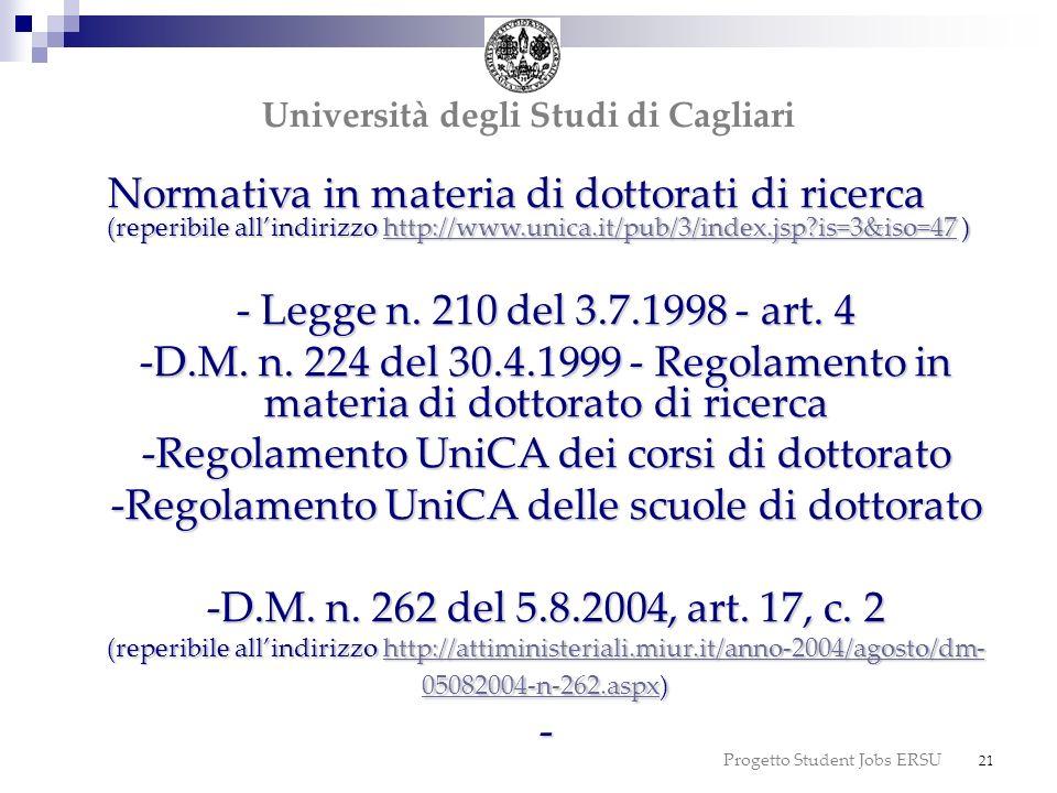 Normativa in materia di dottorati di ricerca