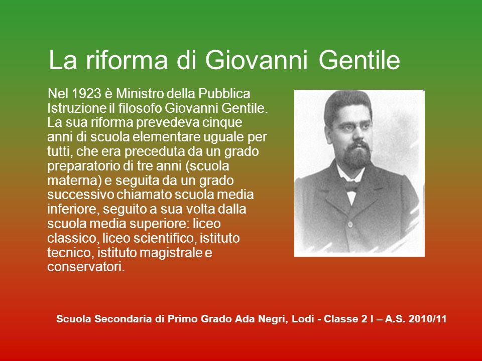 La riforma di Giovanni Gentile