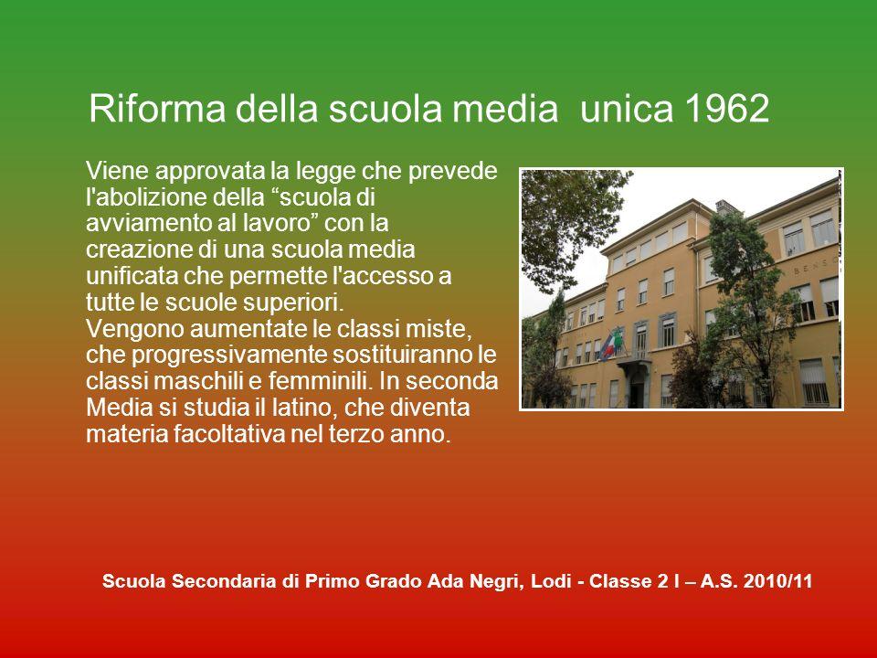 Riforma della scuola media unica 1962