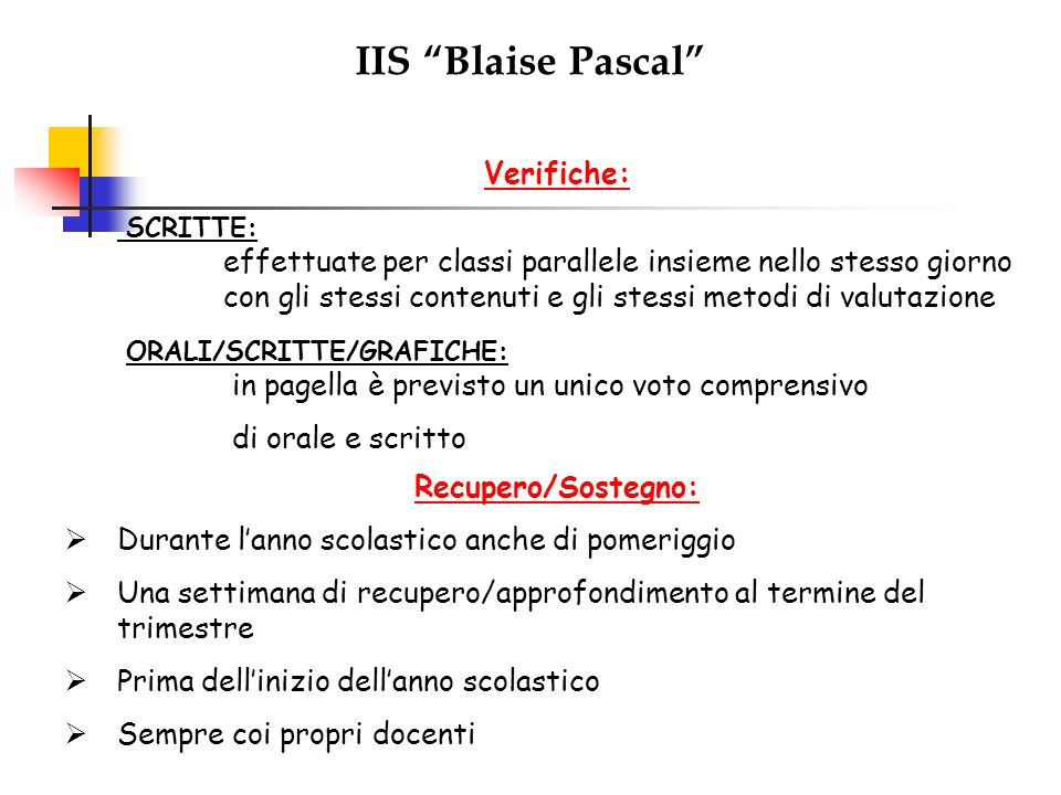 IIS Blaise Pascal Verifiche: