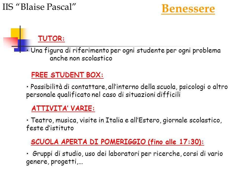 Benessere IIS Blaise Pascal TUTOR: