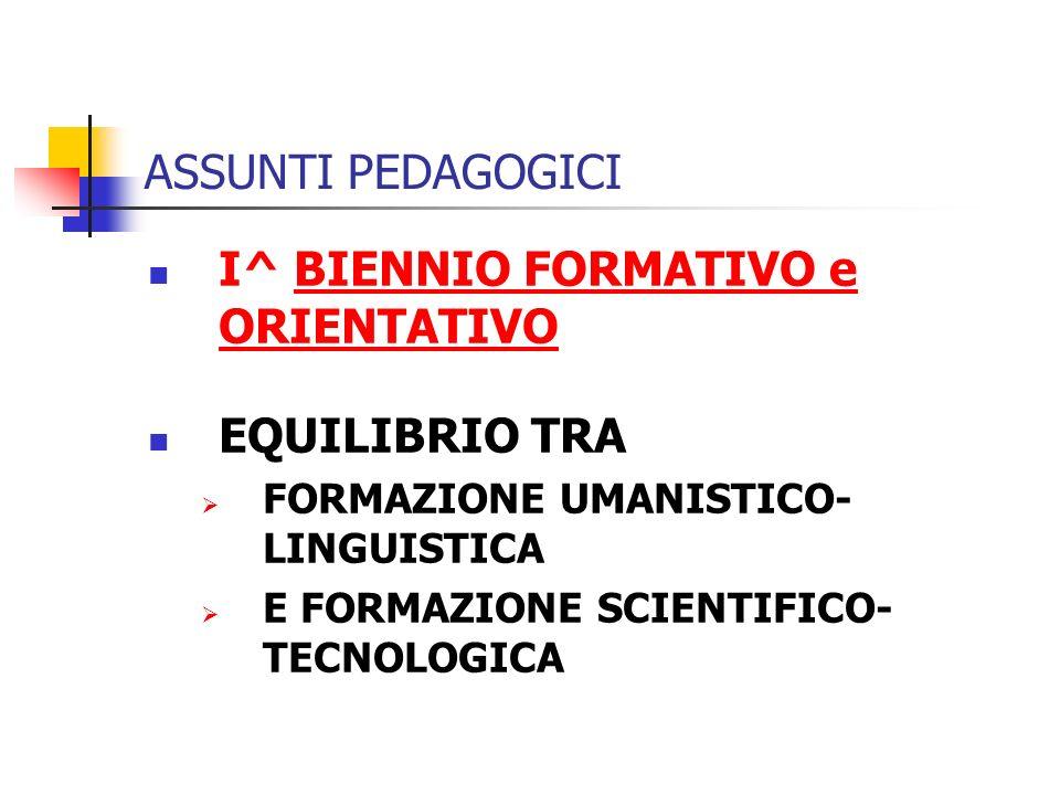 I^ BIENNIO FORMATIVO e ORIENTATIVO