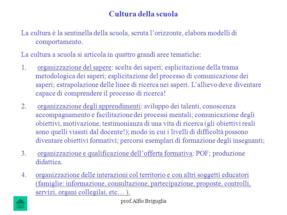 Cultura della scuola La cultura è la sentinella della scuola, scruta l'orizzonte, elabora modelli di comportamento.