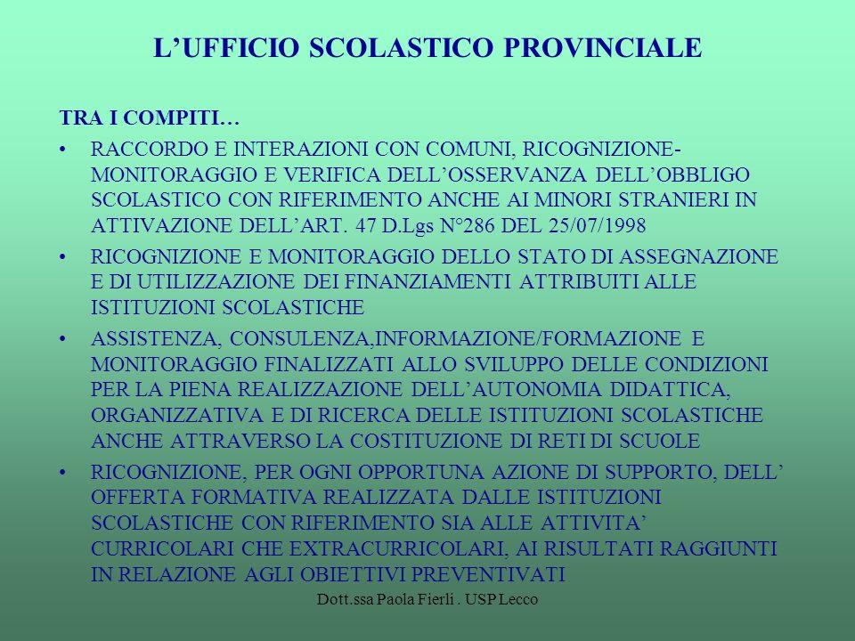 L'UFFICIO SCOLASTICO PROVINCIALE