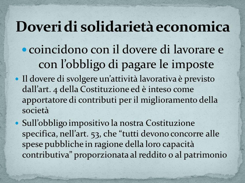 Doveri di solidarietà economica
