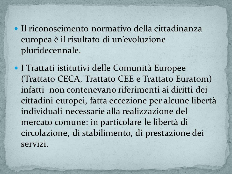 Il riconoscimento normativo della cittadinanza europea è il risultato di un'evoluzione pluridecennale.