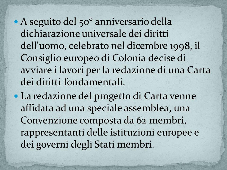 A seguito del 50° anniversario della dichiarazione universale dei diritti dell uomo, celebrato nel dicembre 1998, il Consiglio europeo di Colonia decise di avviare i lavori per la redazione di una Carta dei diritti fondamentali.