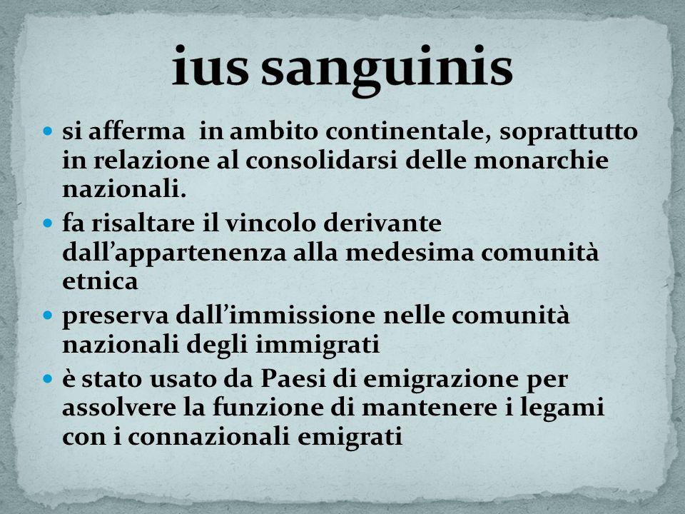 ius sanguinis si afferma in ambito continentale, soprattutto in relazione al consolidarsi delle monarchie nazionali.