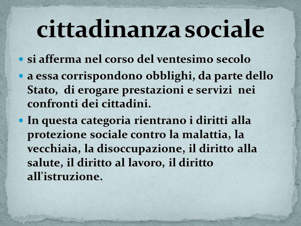 cittadinanza sociale si afferma nel corso del ventesimo secolo