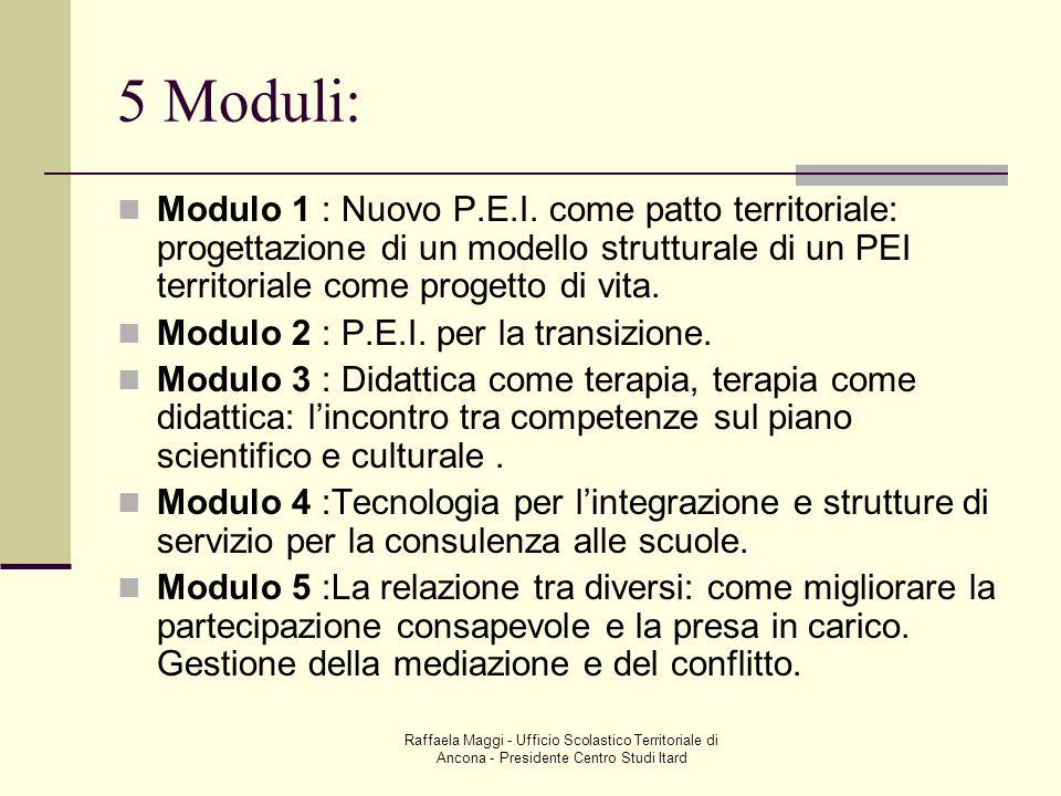 5 Moduli: Modulo 1 : Nuovo P.E.I. come patto territoriale: progettazione di un modello strutturale di un PEI territoriale come progetto di vita.