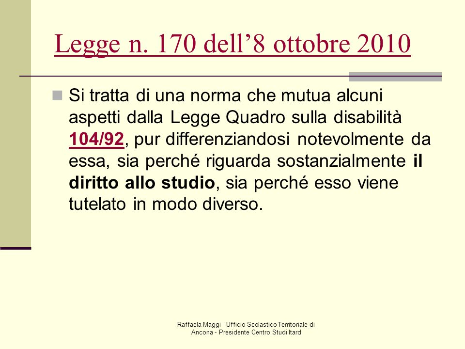 Legge n. 170 dell'8 ottobre 2010