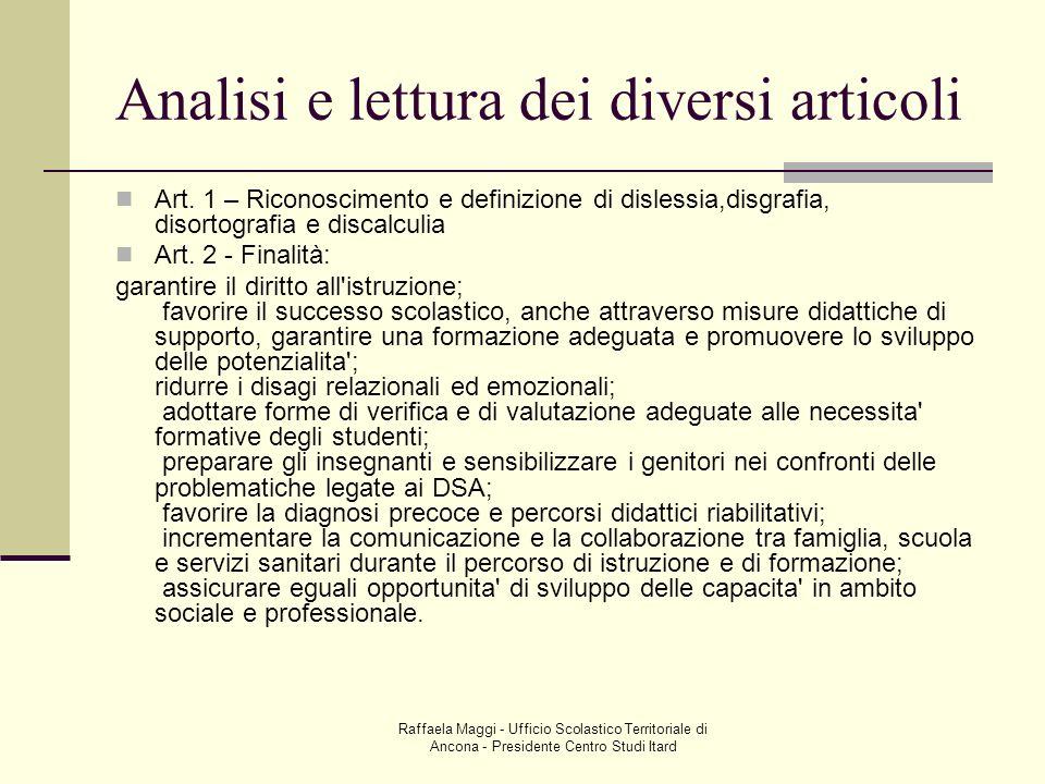 Analisi e lettura dei diversi articoli