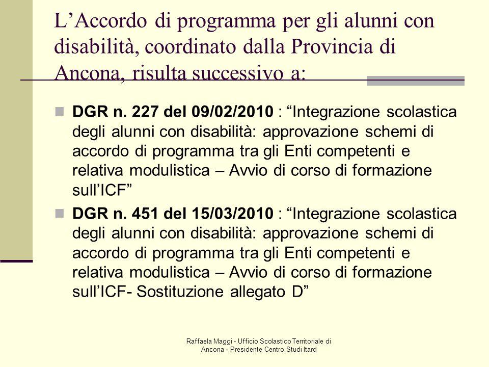 L'Accordo di programma per gli alunni con disabilità, coordinato dalla Provincia di Ancona, risulta successivo a: