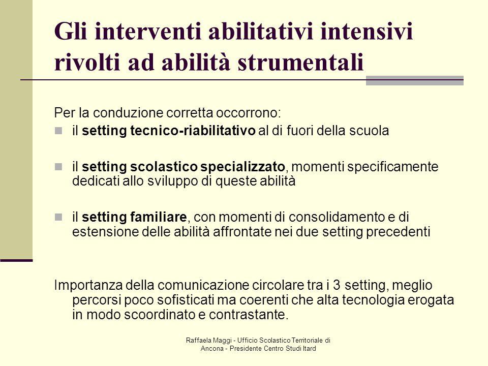 Gli interventi abilitativi intensivi rivolti ad abilità strumentali