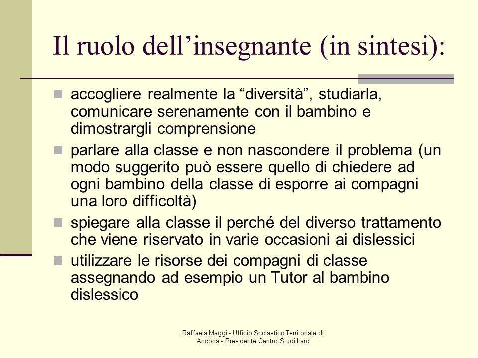 Il ruolo dell'insegnante (in sintesi):