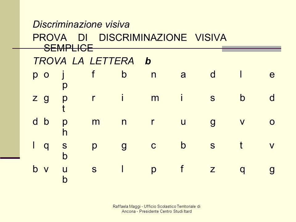 Discriminazione visiva PROVA DI DISCRIMINAZIONE VISIVA SEMPLICE