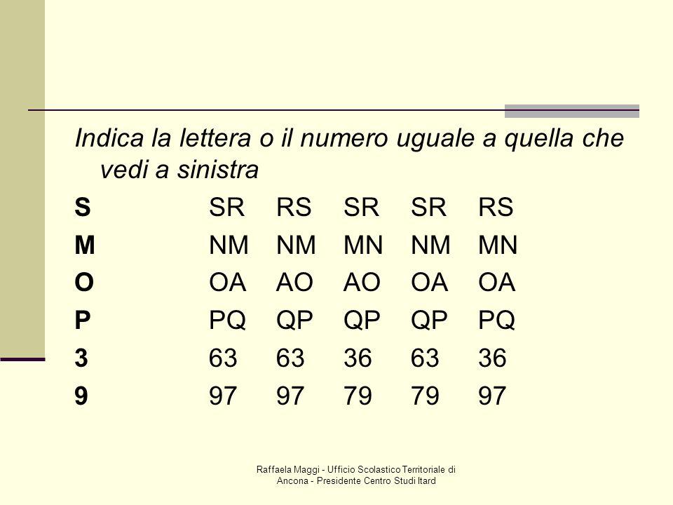 Indica la lettera o il numero uguale a quella che vedi a sinistra