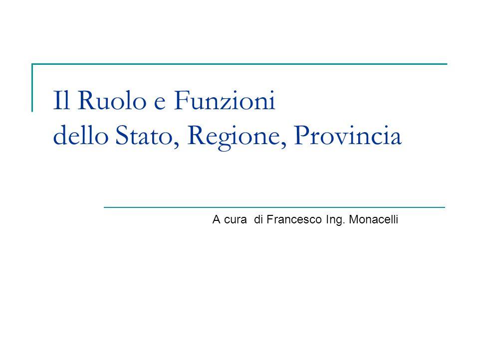 Il Ruolo e Funzioni dello Stato, Regione, Provincia