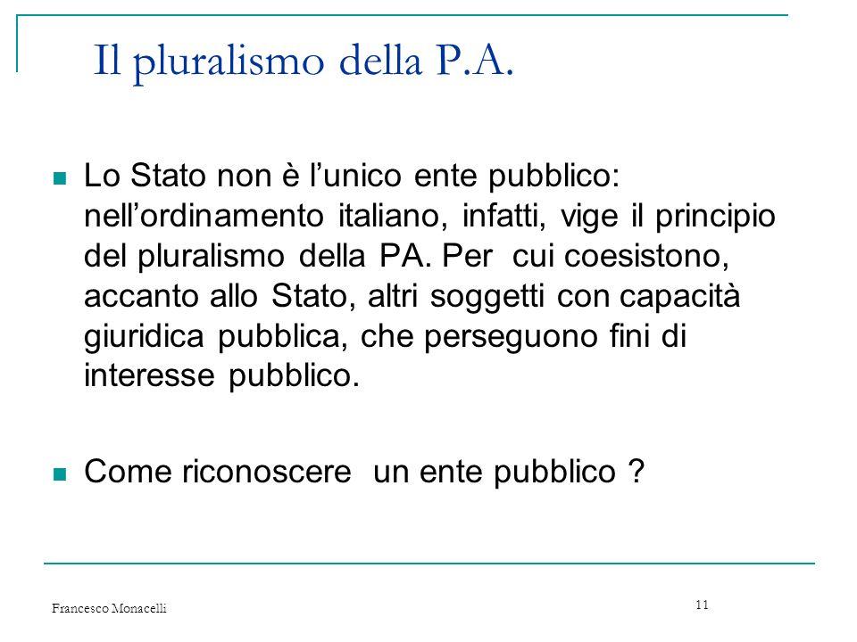 Il pluralismo della P.A.