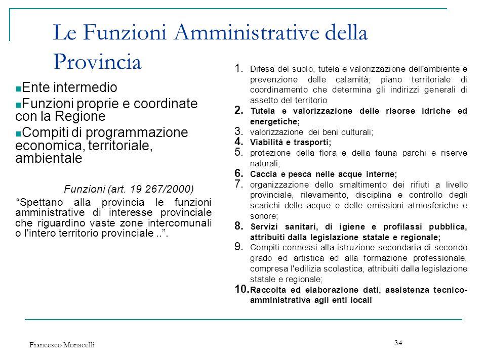 Le Funzioni Amministrative della Provincia