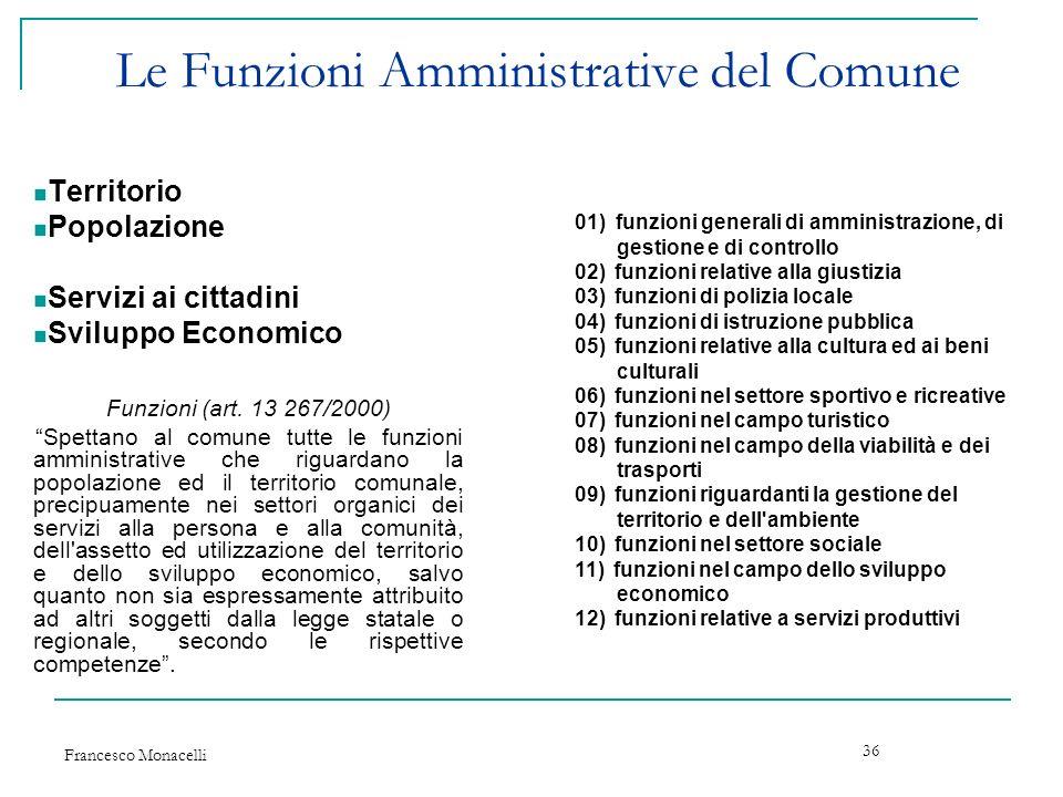 Le Funzioni Amministrative del Comune