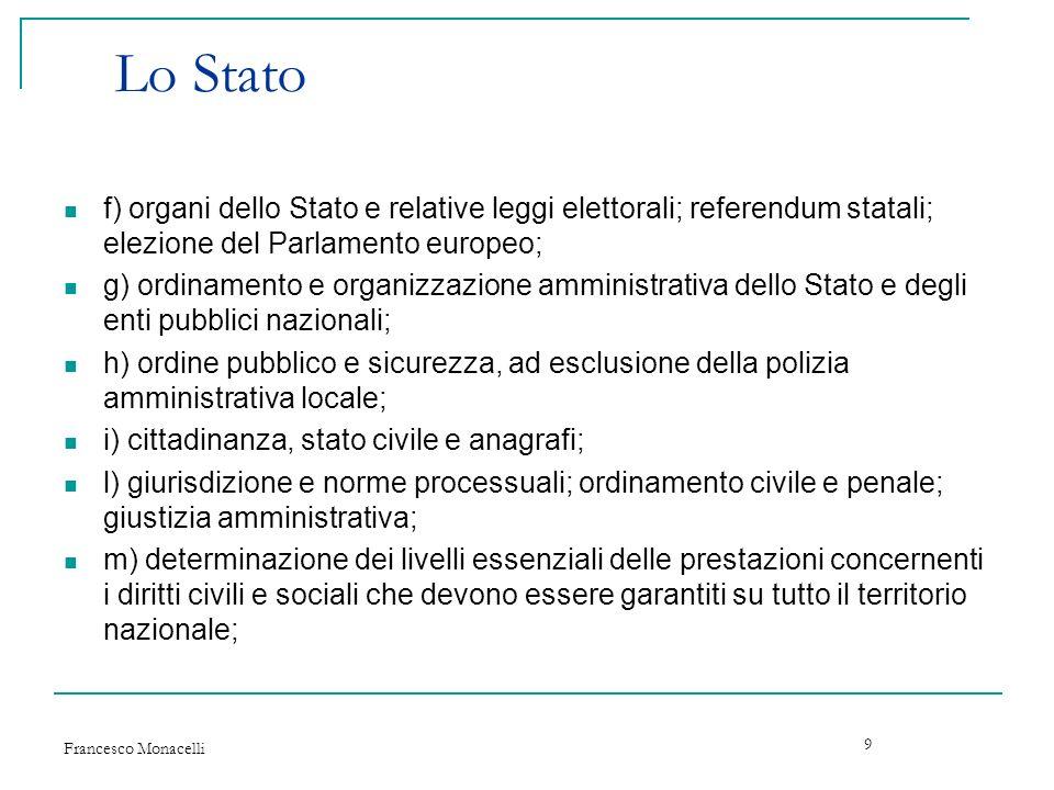 Lo Stato f) organi dello Stato e relative leggi elettorali; referendum statali; elezione del Parlamento europeo;