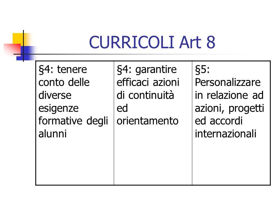 CURRICOLI Art 8 §4: tenere conto delle diverse esigenze formative degli alunni. §4: garantire efficaci azioni di continuità ed orientamento.
