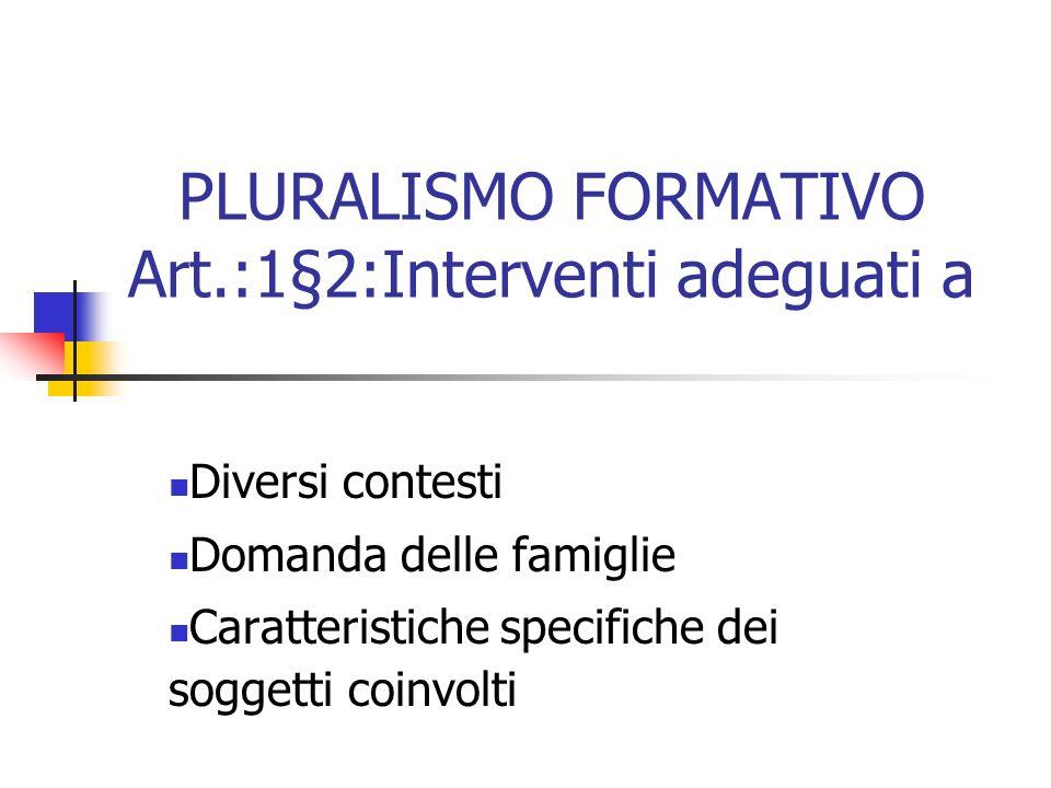 PLURALISMO FORMATIVO Art.:1§2:Interventi adeguati a