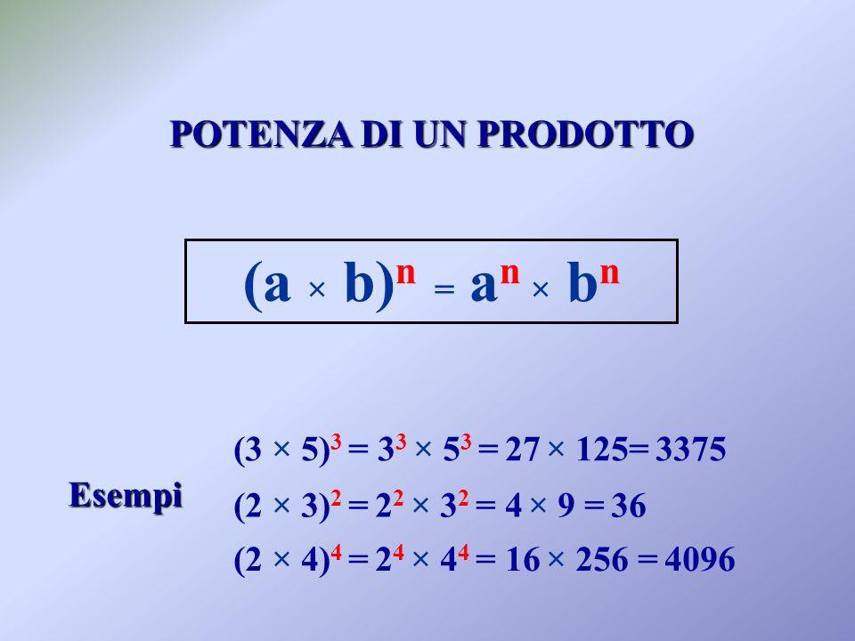(a × b)n = an × bn POTENZA DI UN PRODOTTO