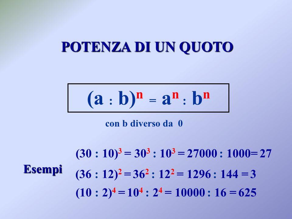 (a : b)n = an : bn POTENZA DI UN QUOTO