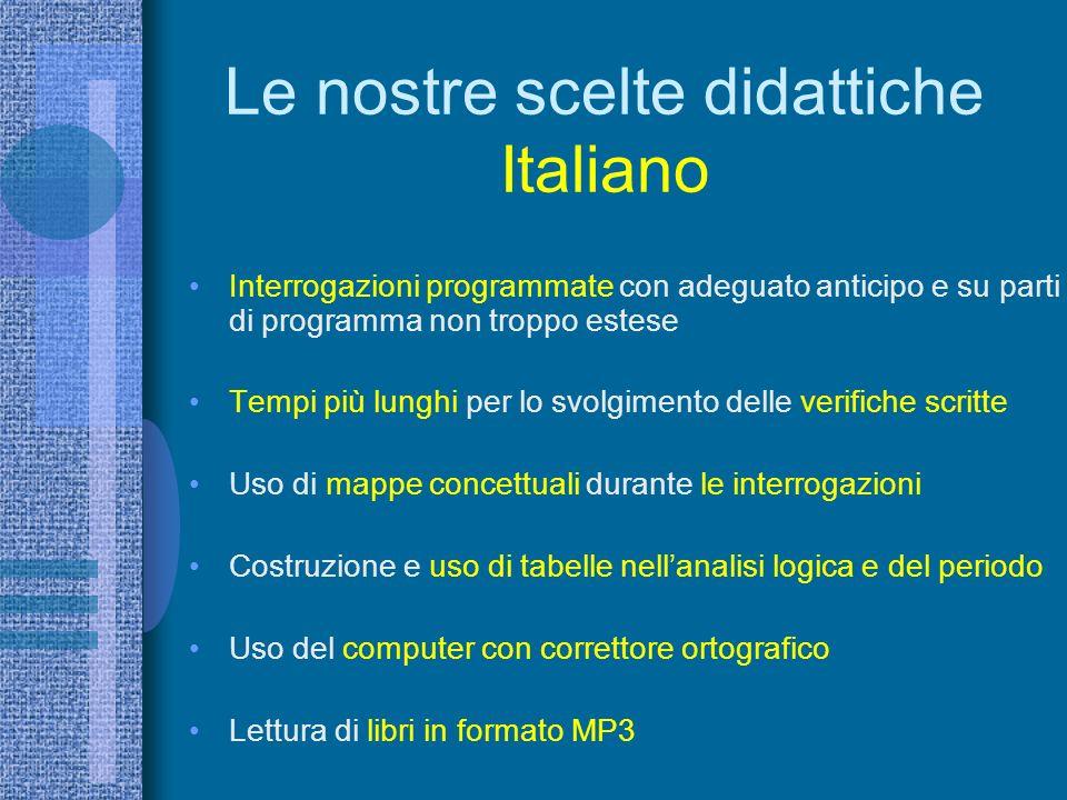Le nostre scelte didattiche Italiano