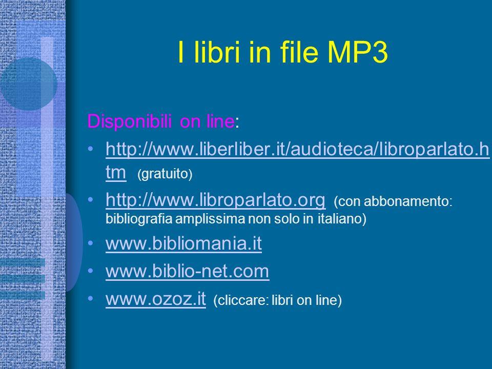 I libri in file MP3 Disponibili on line: