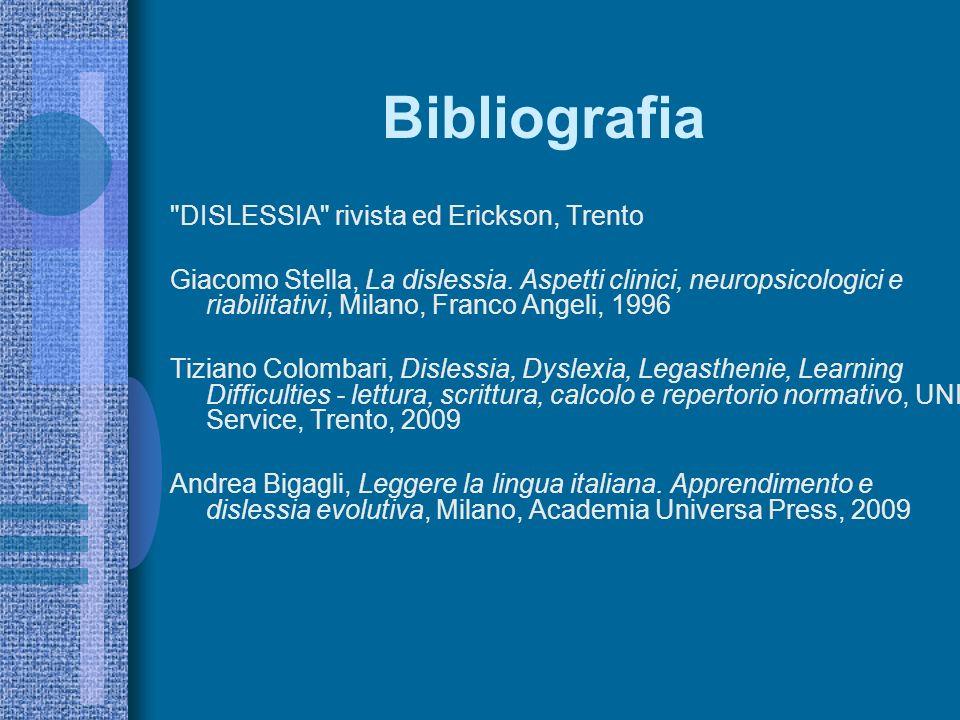 Bibliografia DISLESSIA rivista ed Erickson, Trento