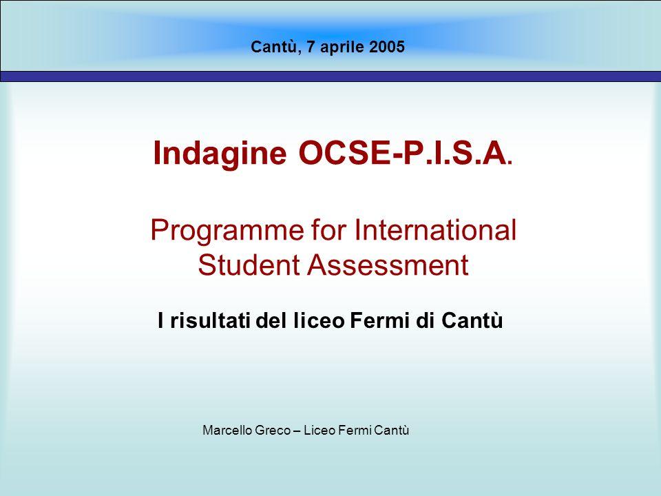 Indagine OCSE-P.I.S.A. Programme for International Student Assessment