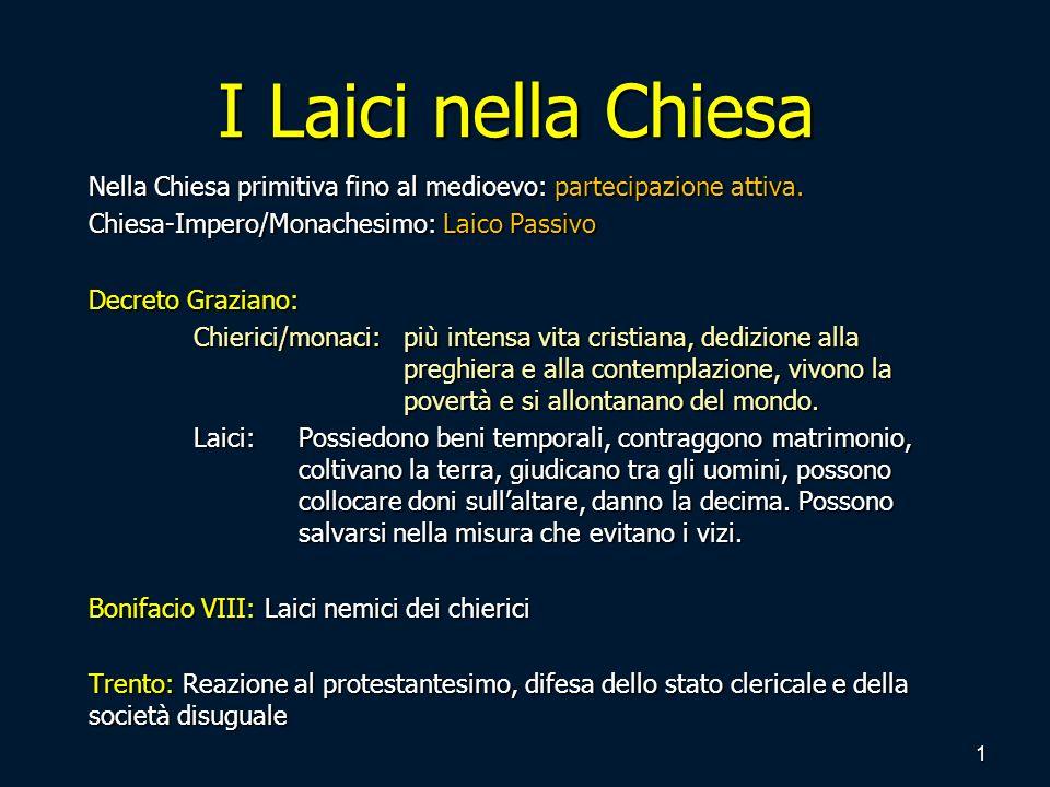 I Laici nella Chiesa Nella Chiesa primitiva fino al medioevo: partecipazione attiva. Chiesa-Impero/Monachesimo: Laico Passivo.