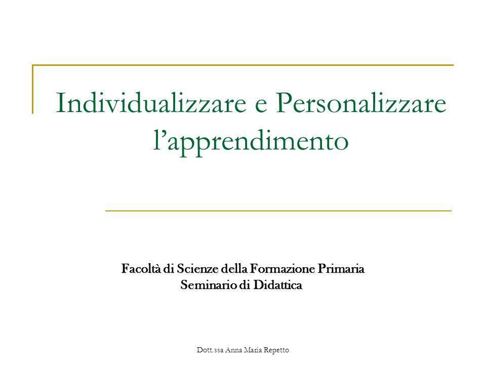 Individualizzare e Personalizzare l'apprendimento