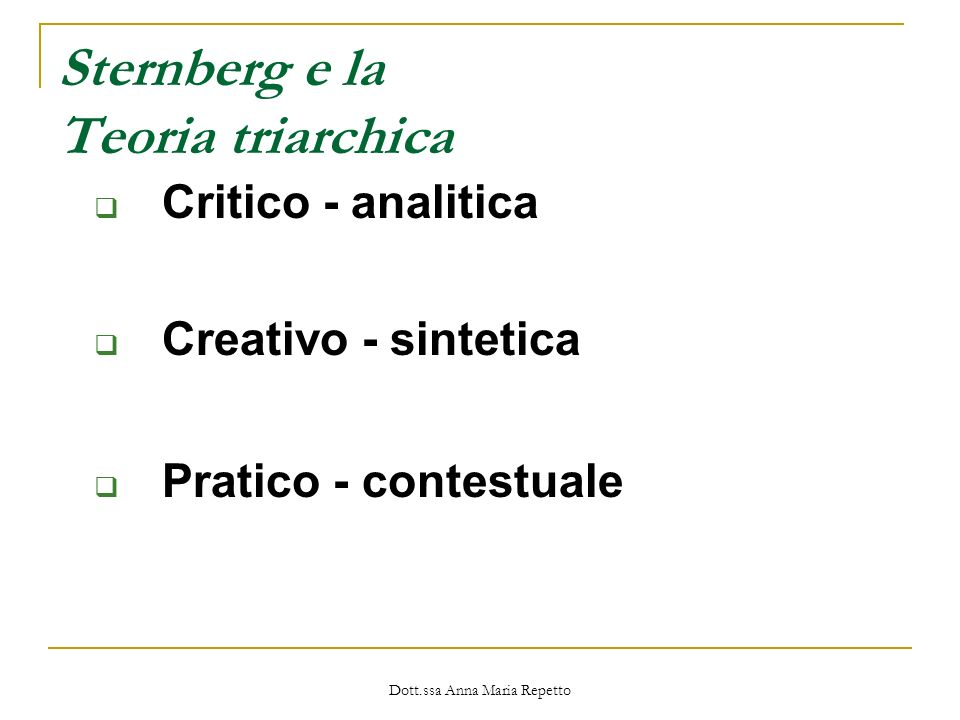 Sternberg e la Teoria triarchica