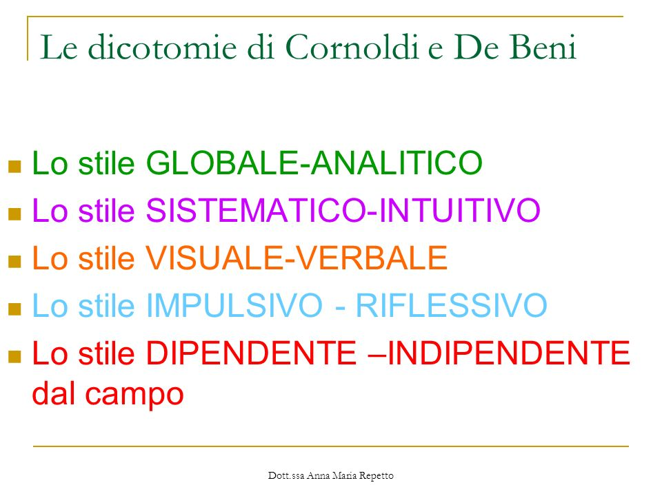 Le dicotomie di Cornoldi e De Beni