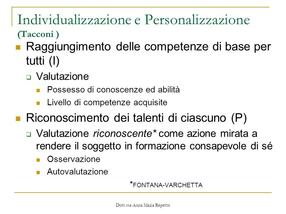 Individualizzazione e Personalizzazione (Tacconi )