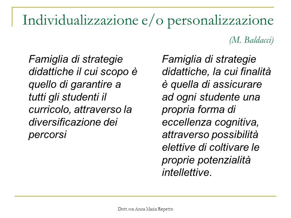 Individualizzazione e/o personalizzazione (M. Baldacci)