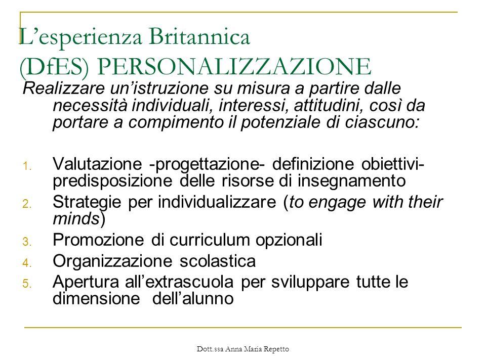 L'esperienza Britannica (DfES) PERSONALIZZAZIONE