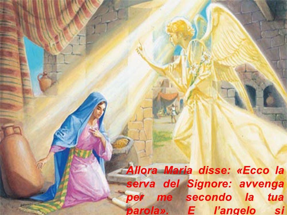 Allora Maria disse: «Ecco la serva del Signore: avvenga per me secondo la tua parola».