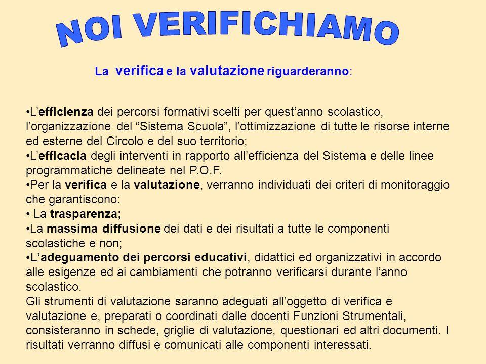 NOI VERIFICHIAMO La verifica e la valutazione riguarderanno: